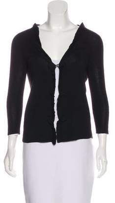 Prada Ruffled V-Neck Cardigan