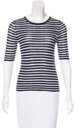 White + Warren Striped Short Sleeve Top