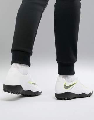 Nike Football Hypervenom Phantomx 3 Astro Turf Sneakers In White AJ3815-107