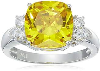 Platinum Plated Sterling Silver Cushion Cut Canary Cubic Zirconia Ring