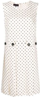 Talbot Runhof polka dot pleated dress