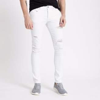 River Island White ripped Danny super skinny jeans