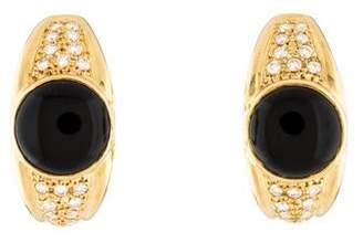 18K Onyx & Diamond J-Hoop Earrings