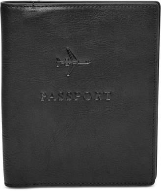 Fossil Men Leather Embossed Passport Case