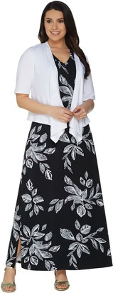 Denim & Co. Printed V-Neck Sleeveless Maxi Dress w/ Drape Front Shrug