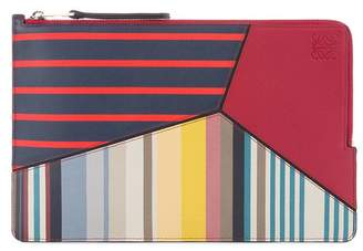 Puzzle Flat Pouch Stripes Red/Tan/Multicolor