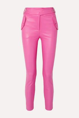 Veronica Beard Jania Leather Skinny Pants - Pink
