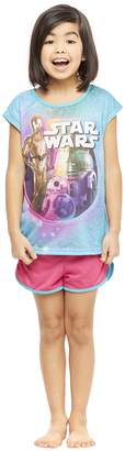 Star Wars Jellifish Kids Girls 2-Piece Pajama Set, Short-Sleeve Top and Shorts