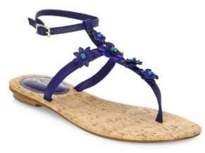 Oscar de la Renta Flower Leather T-Strap Sandals