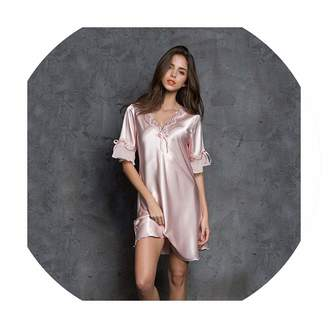 stewarted dress Women Satin Sleepwear Silk Nightgown Half Sleeve Embroidery  Nightdress Sexy Lingerie 67523edb1
