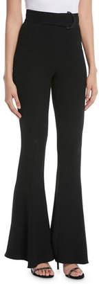Cushnie et Ochs High-Waist Flared-Leg Pants with D-Ring Buckle