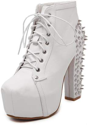 D2C Beauty Women's Studded Platform Chunky High Heel Lace Up Ankle Booties, EURO39/US8/UK6