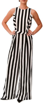 Mikael Aghal Sleeveless Ruffle-Trim Striped Jumpsuit