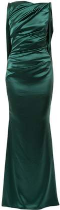 Talbot Runhof ruched detail fitted evening dress
