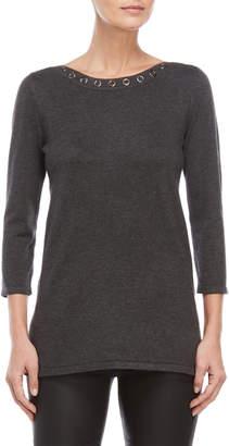 Cable & Gauge Grommet Boatneck Sweater