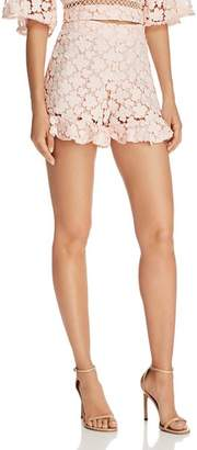 Karina Grimaldi George Ruffle-Hem Lace Shorts