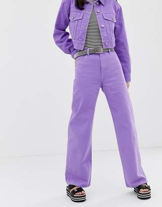 Monki wide leg denim jeans with organic cotton in lilac co-ord