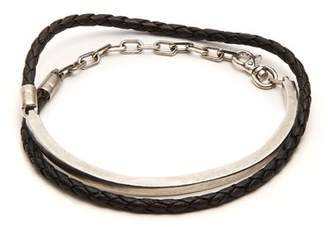 Title Of Work - Leather And Sterling Silver Wraparound Bracelet - Mens - Black Multi