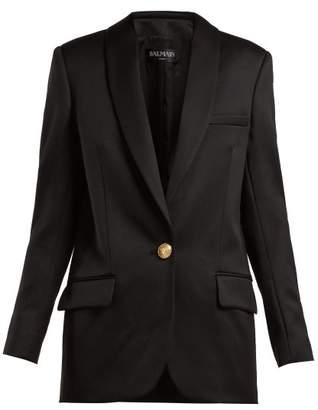 Balmain Long Wool Blazer - Womens - Black