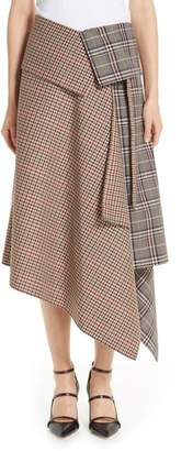 Monse Mixed Check Wool Blend Blanket Wrap Skirt