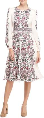 Gal Meets Glam Chloe Floral Border Print A-Line Dress
