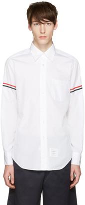 Thom Browne Off-White Poplin Grosgrain Shirt $480 thestylecure.com