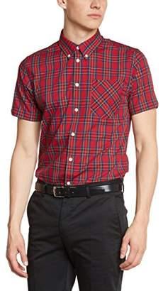 Merc of London Men's Mack, Shirt, Short Sleeve Dress Rouge (Stewart Red)