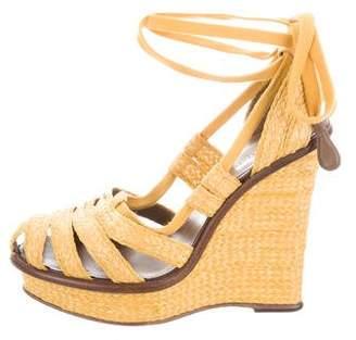 Bottega Veneta Straw Platform Wedge Sandals