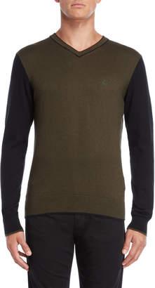 Armani Jeans Green & Black V-Neck Pullover Sweater