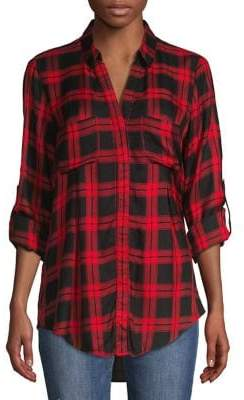 Lord & Taylor Plaid High-Low Button-Down Shirt