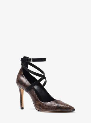 MICHAEL Michael Kors Jeannie Snake-Embossed Leather Pump