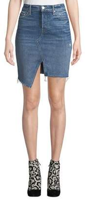 Mother The Tomcat Slide Mini High-Waist Frayed Denim Skirt