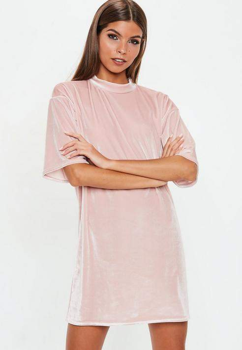 Petite Pink Velvet Oversized T Shirt Dress, Pink