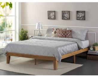 Zinus Solid Wood Platform Bed, No Box Spring Needed, Rustic Pine, King