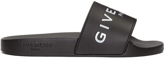 Givenchy Black Logo Beach Slides