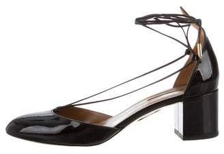 Aquazzura Patent Leather Wrap-Around Pumps