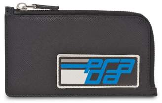 Prada black and blue Saffiano credit card holder