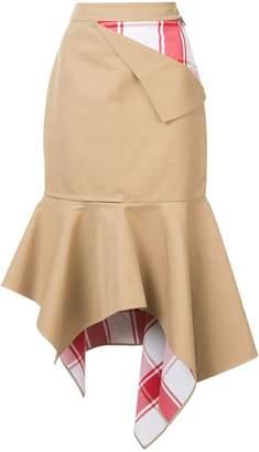 Monse patchwork peplum asymmetric skirt