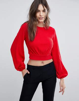 Fashion Union Balloon Sleeve Cropped Knitted Sweater