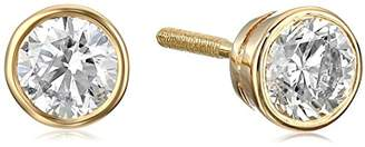 14k Gold Bezel Set Diamond with Screw Post and Back Stud Earrings (1cttw