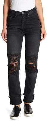 One Teaspoon High Waist Distressed Straight Leg Jeans