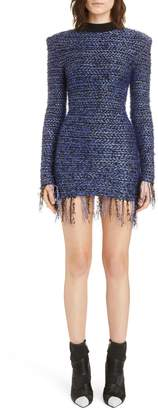 Balmain Fringe Metallic Tweed Minidress