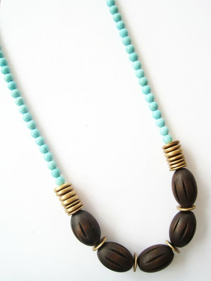 K. Amato Wood Oval Necklace