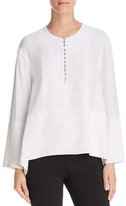 Donna Karan Mixed-Media Boxy Top