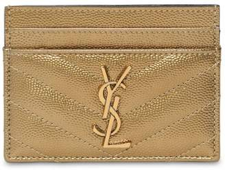 Saint Laurent QUILTED METALLIC LEATHER CARD HOLDER