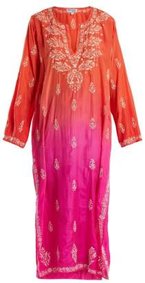 Juliet Dunn Floral Embroidered Ombre Silk Kaftan - Womens - Pink Multi
