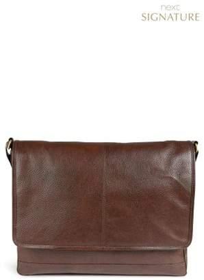Mens Next Signature Leather Messenger Bag - Light Brown Next 100% Original For Sale q1oVOsBzw
