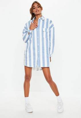 Missguided Blue Denim Stripe Shirt Dress, Blue