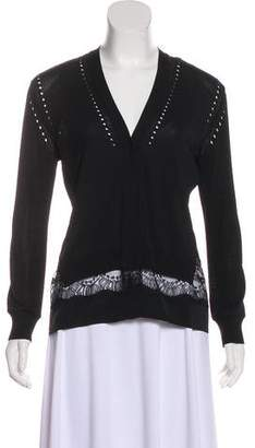 No.21 No. 21 Lace-Trimmed Knit Cardigan