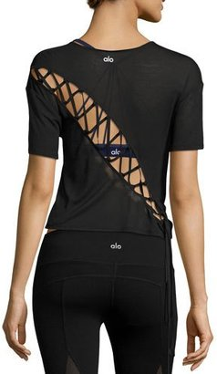 Alo Yoga Entwine Short-Sleeve Lace-Back Athletic Top, Black $64 thestylecure.com